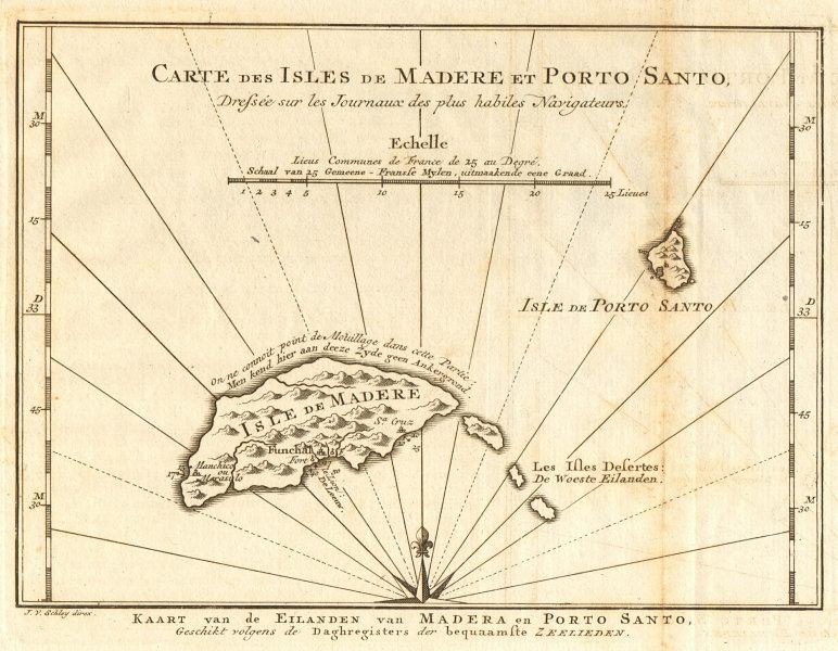 Associate Product 'Carte des Isles de Madère & Porto-Santo'. Madeira. BELLIN/SCHLEY 1747 old map