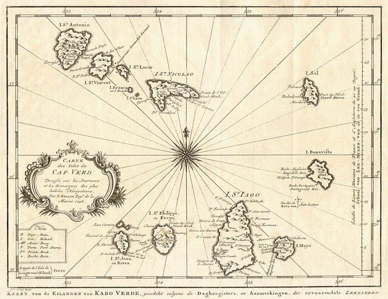 Associate Product 'Carte des Isles du Cap-Verd'. Cap Verde islands. BELLIN/SCHLEY 1747 old map