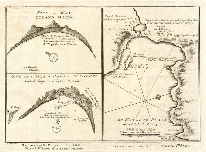 Associate Product Cape Verde islands. Maio. Praia harbour, Santiago. BELLIN/SCHLEY 1747 old map