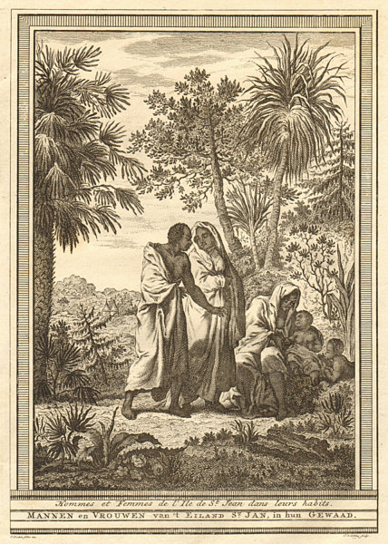 Associate Product Cape Verde islands. Men & women of St Jean (Brava) in their clothes. SCHLEY 1747