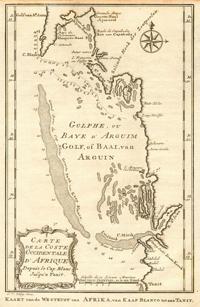 Associate Product 'Coste Occidentale d'Afrique'. Bay of Arguin, Mauritania. BELLIN/SCHLEY 1747 map
