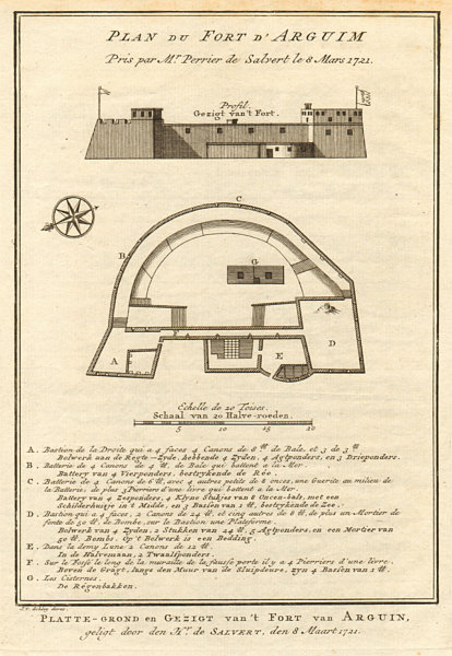 Associate Product 'Plan de Fort d'Arguim'. Mauritania. Arguin fort. BELLIN/SCHLEY 1747 old map