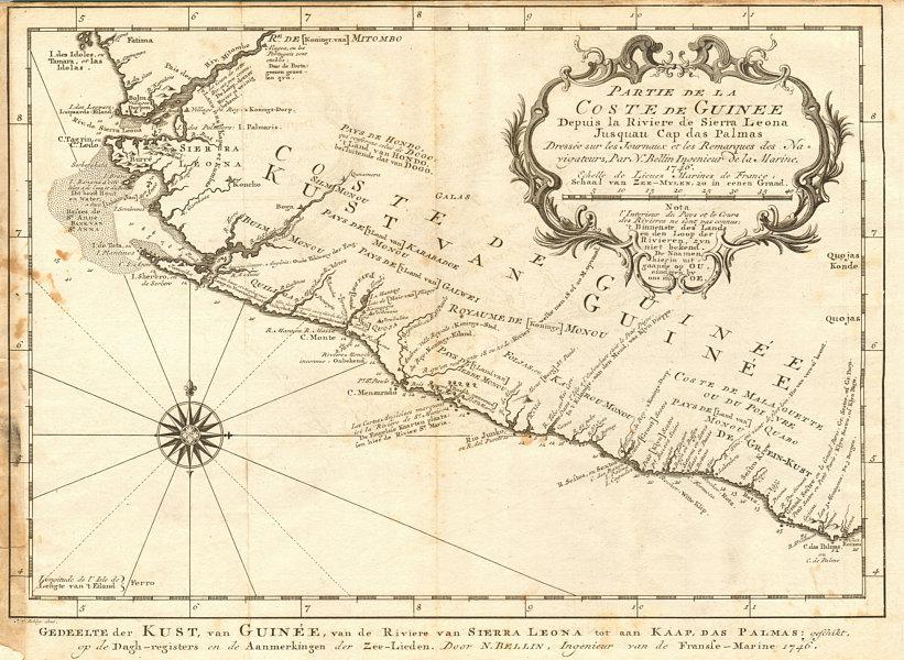 Associate Product 'Partie de la Coste de Guinée' Sierra Leone Liberia coast BELLIN/SCHLEY 1747 map