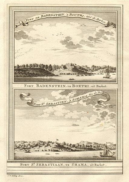 Associate Product Ghana. Fort Batenstein at Butre. Fort San Sebastian at Shama. SCHLEY 1747