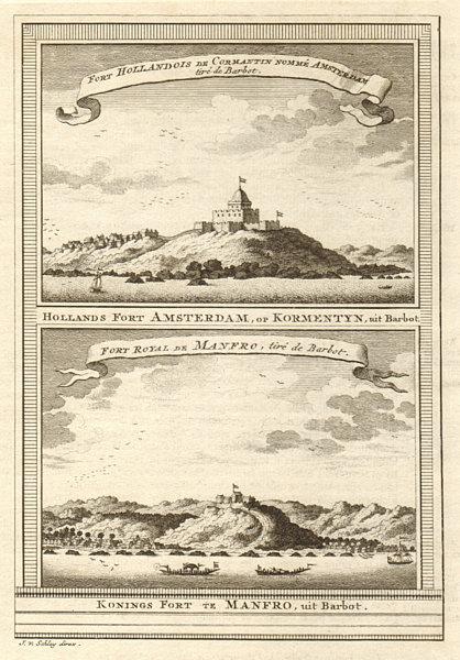 Associate Product Ghana. Fort Amsterdam, Kormantin. Fort Royal Amanful Hill Cape Coast SCHLEY 1747