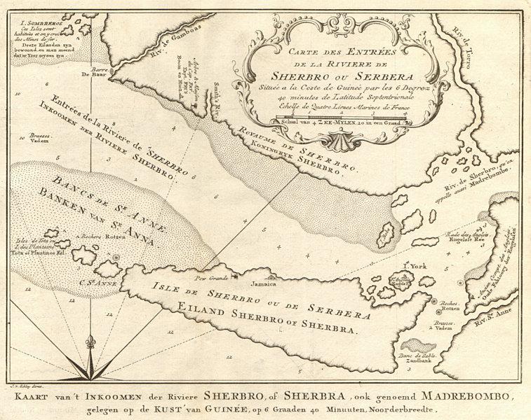 Associate Product 'Entrées de la rivière de Scherbro'. Sherbro Sierra Leone BELLIN/SCHLEY 1747 map