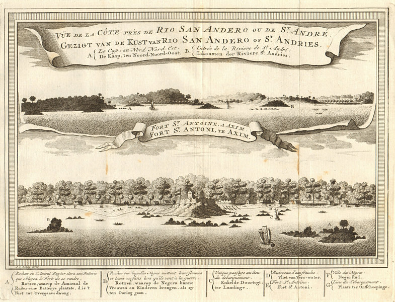 Associate Product Ghana coast near San Andreo (Sassandra ?). Fort St. Anthony, Axim. SCHLEY 1747