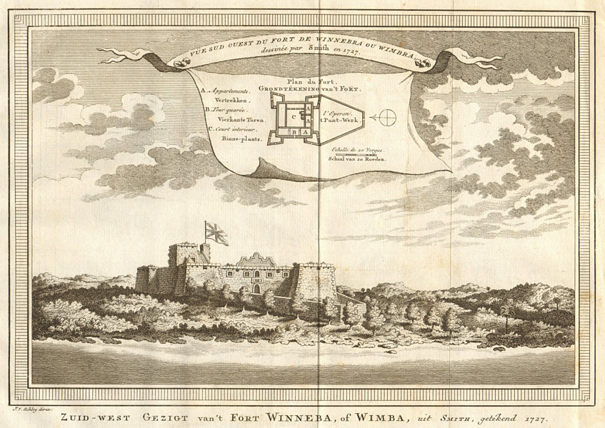 Associate Product 'Vue Sud-Ouest du Fort de Winnebra ou Wimbra'. Fort Winneba, Ghana. SCHLEY 1747
