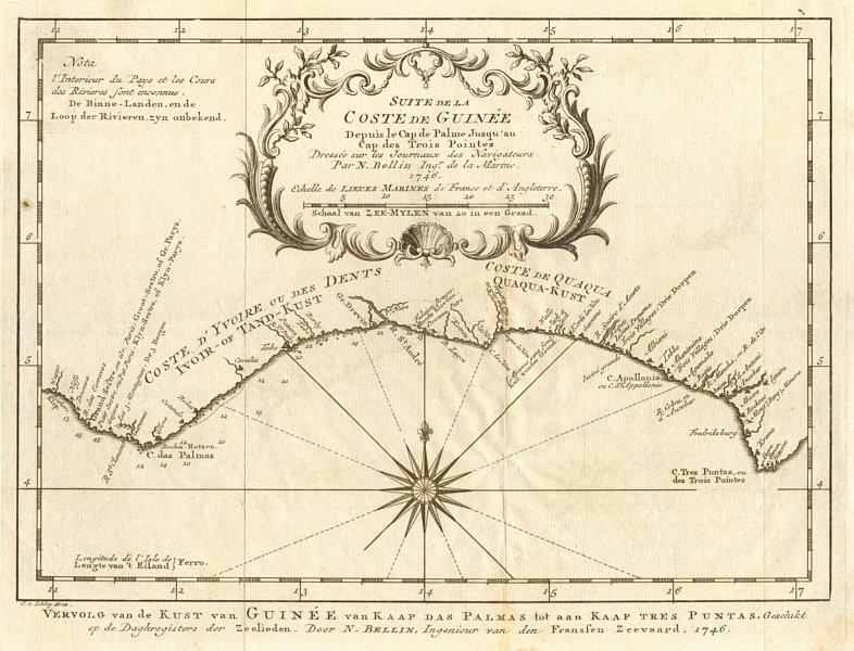 Associate Product 'Suite de la Coste de Guinée…' Liberia Ivory Coast Ghana. BELLIN/SCHLEY 1748 map