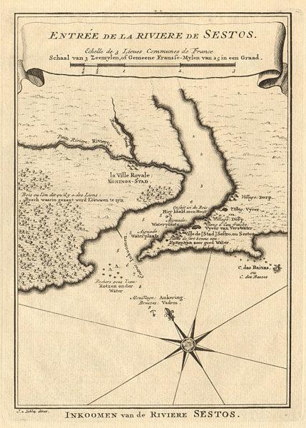Associate Product Entrée de la Rivière de Sestos. River Cess Cestos Liberia BELLIN/SCHLEY 1748 map