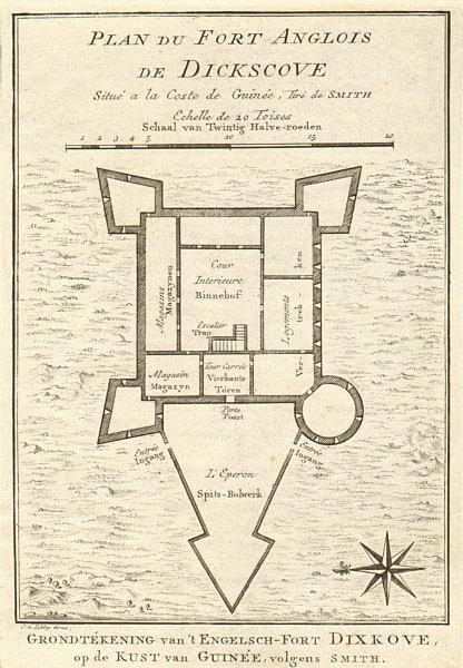 Associate Product Fort Anglois, Dickscove. Dixcove Metal Cross Pokesu Ghana BELLIN/SCHLEY 1748 map