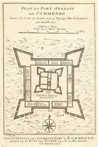 Associate Product 'Plan du Fort Anglois de Commendo'. Fort Komenda, Ghana. BELLIN/SCHLEY 1748 map