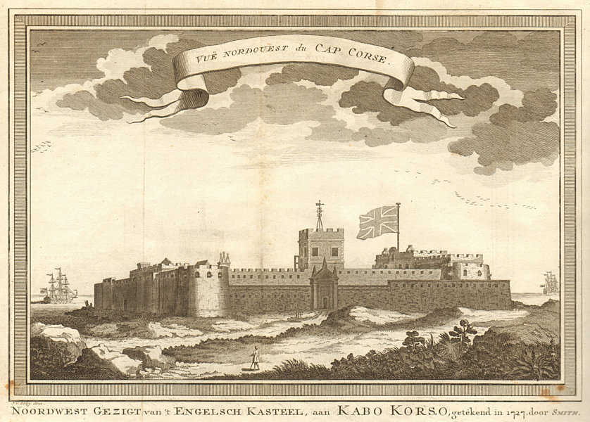 'Vue Nord-Ouest du Cap Corse'. Ghana. NW view of Cape Coast Castle. SCHLEY 1748