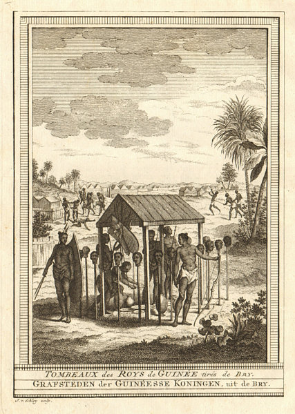 Associate Product West Africa. Tombs of the Kings of Guinea, taken from Bry. SCHLEY 1748 print