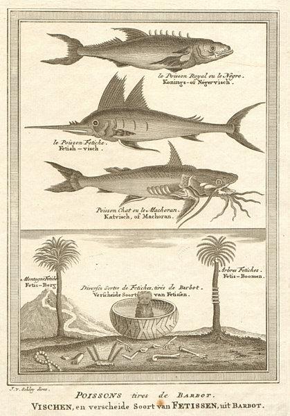 West Africa. Kingfish Swordfish Gillbacker sea catfish. Fetish tree. SCHLEY 1748