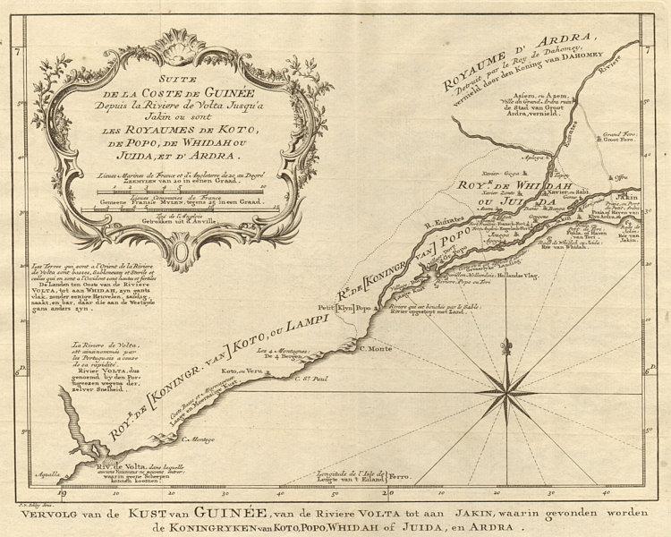 Associate Product 'Suite de la Coste de Guinée'. Ghana Togo Benin coast. BELLIN/SCHLEY 1748 map