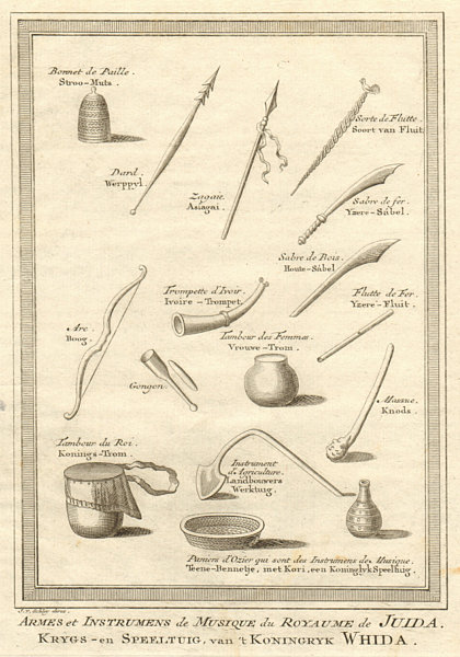 Associate Product Benin. Weapons & musical instruments. Kingdom of Whydah Ouidah. SCHLEY 1748