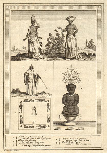 Associate Product Benin costume. Whydah. King's wives. Grandees. Agoye God of Counsel. SCHLEY 1748