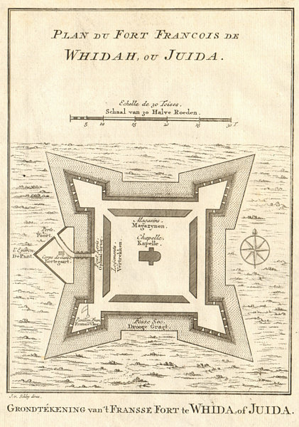 Associate Product 'Plan du Fort François de Whidah ou Juida'. Ouidah Benin. BELLIN/SCHLEY 1748 map