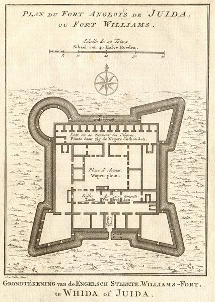 'Fort Anglois de Juida ou Fort Williams'. Ouidah, Benin. BELLIN/SCHLEY 1748 map