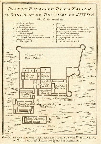 Associate Product 'Palais du Roy à Xavier'. King's Palace, Ouidah, Benin BELLIN/SCHLEY 1748 map