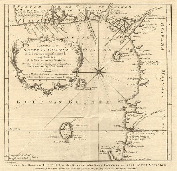 Carte du Golfe de Guinée. Gulf of Guinea Nigeria Cameroon BELLIN/SCHLEY 1748 map