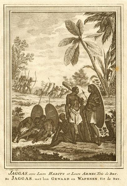 Associate Product Jaggas avec leurs habits & leurs Armes. Congo. Jagas people. Weapons SCHLEY 1748