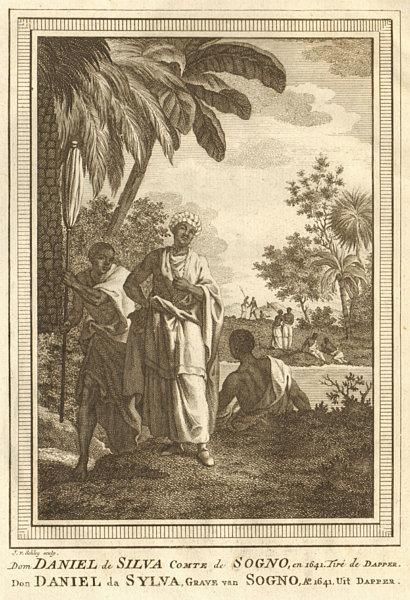 Dom Daniel de Silva, Count of Soyo, in 1641. Angola. SCHLEY 1748 old print