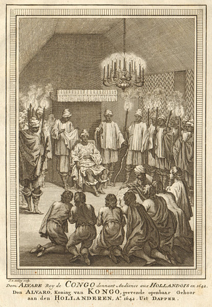 Associate Product King of Kongo (probably Alvaro VI), audience with the Dutch. Congo. SCHLEY 1748