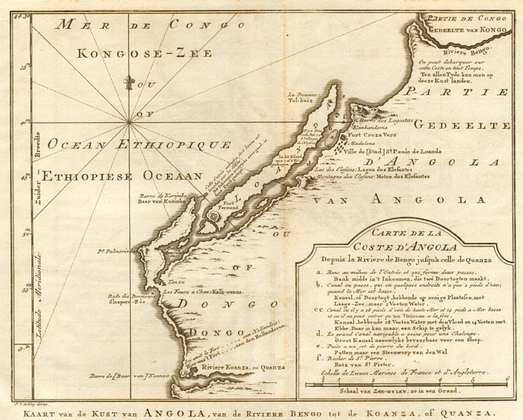 Associate Product 'Coste d'Angola…' between Bengo & Cuanza Rivers. Luanda. BELLIN/SCHLEY 1748 map