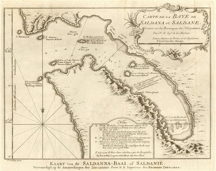 Associate Product 'Carte de la Baye de Saldana'. Saldanha Bay, South Africa BELLIN/SCHLEY 1748 map