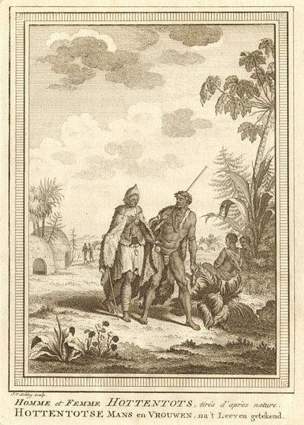 Associate Product 'Homme et Femme Hottentots'. Southern Africa. Khoikhoi man & woman. SCHLEY 1748