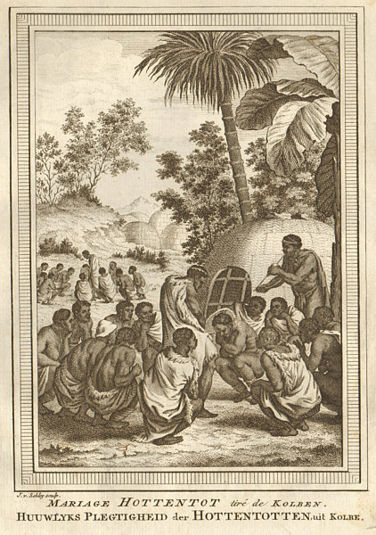 Associate Product 'Mariage Hottentot'. Southern Africa. Khoikhoi Wedding. SCHLEY 1748 old print