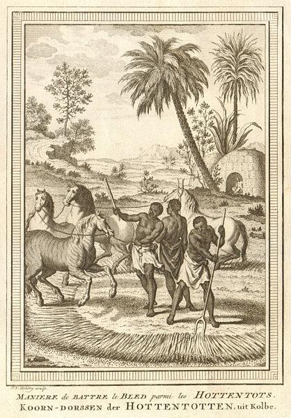 Associate Product Southern Africa. Hottentot / Khoikhoi corn threshing method. SCHLEY 1748 print