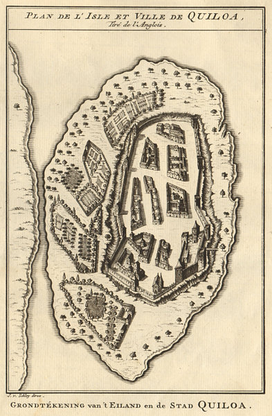 Associate Product 'I'Isle et Ville de Quilloa'. Kilwa island, Tanzania. BELLIN/SCHLEY 1748 map