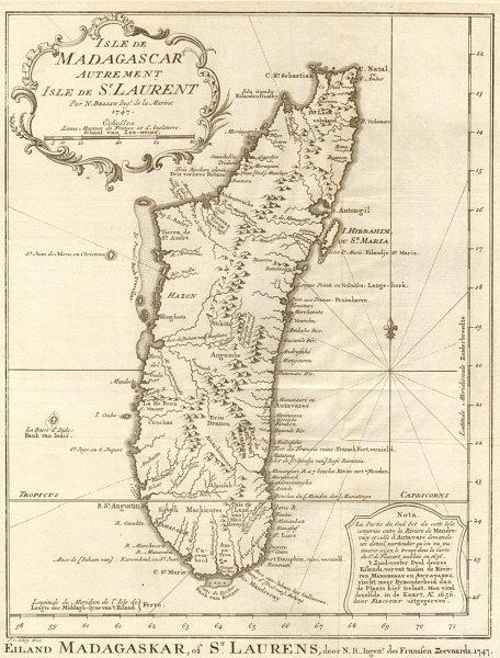 Associate Product 'Isle de Madagascar, autrement Isle de St. Laurent'. BELLIN/SCHLEY 1748 map