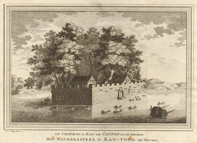 Associate Product 'Le Château d'Eau de Canton'. Water Castle Guangzhou China. Nieuhof. SCHLEY 1749