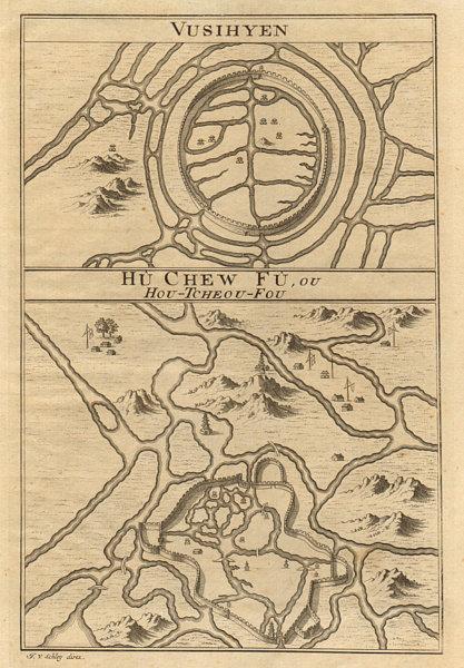 Associate Product 'Vusihyen; Hu-chew-fu…'. Wuxi & Huzhou city plans. China BELLIN/SCHLEY 1749 map