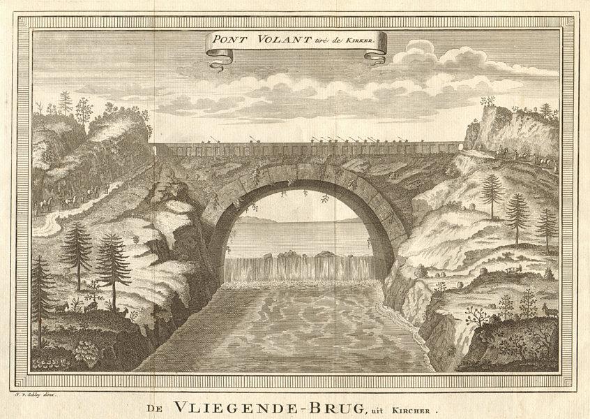 Associate Product 'Pont Volant, tiré de Kircher'. China. Flying Bridge. SCHLEY 1749 old print