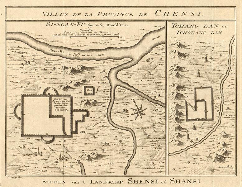 Associate Product XIAN (Si-Ngan) city plan. Shuiluo, Zhuanglang Gansu China BELLIN/SCHLEY 1749 map