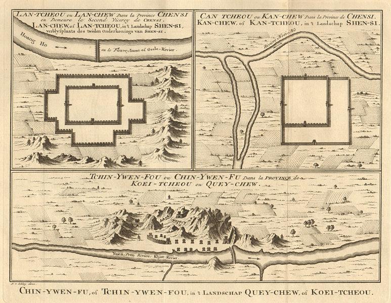 Associate Product Lanzhou Shanxi. Zhangye Gansu. Zhenyuan Guizhou city plan BELLIN/SCHLEY 1749 map