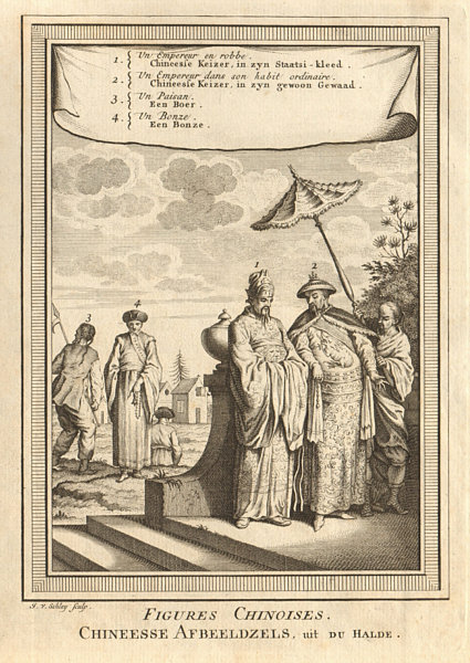 Associate Product 'Figures Chinoises'. Chinese Emperor. Buddhist monk / Bonze. China. SCHLEY 1749