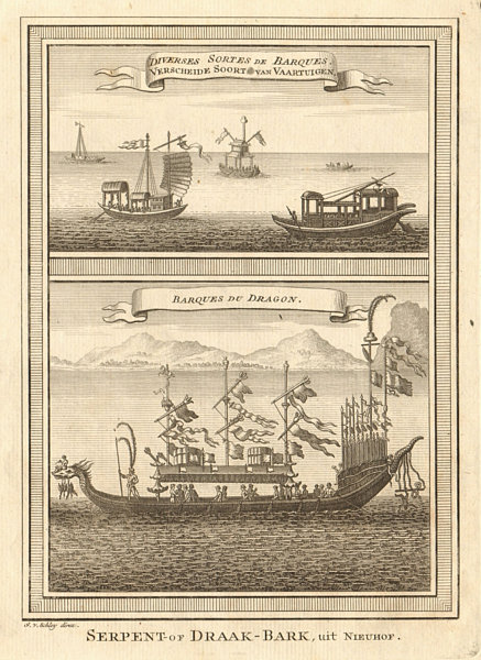 Associate Product Chinese boats. Junks. Dragon boat. China. SCHLEY 1749 old antique print