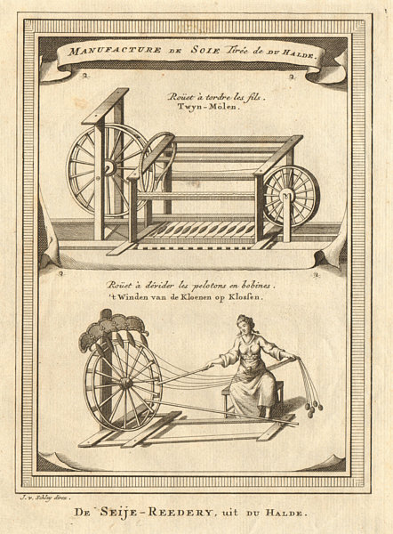 Associate Product China. Silk manufacture. Twine mill. Spinning wheel threads bobbins. SCHLEY 1749