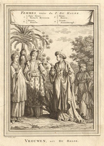 Associate Product Chinese ladies. Tartar lady Bonzess Buddhist nun Peasant Servant. SCHLEY 1749
