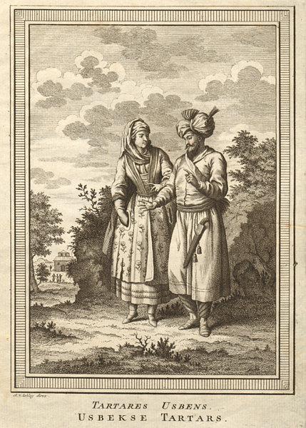'Tartares Usbens'. Uzbekistan. Usbek Tartars. SCHLEY 1749 old antique print