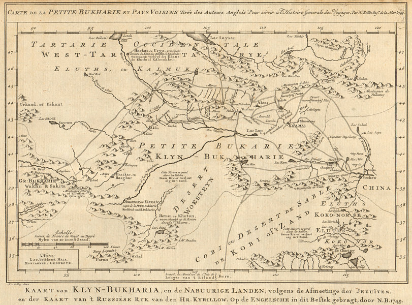 Associate Product 'Petite Bukkarie'. Central Asia. Little Bukhara. W China. BELLIN/SCHLEY 1749 map
