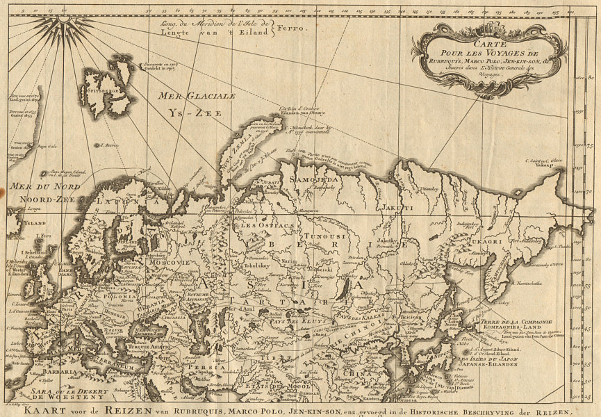 Associate Product 'Les voyages de Rubruquis, Marco Polo, Jenkinson'. BELLIN/SCHLEY 1749 old map