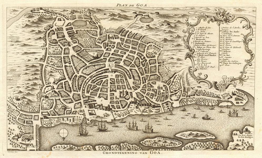 Associate Product Town city 'Plan de Goa'. Portuguese India. BELLIN / SCHLEY 1753 old map