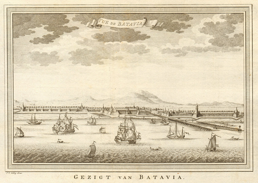 Associate Product View of the city of Batavia, Dutch East Indies. Jakarta, Indonesia. SCHLEY 1753